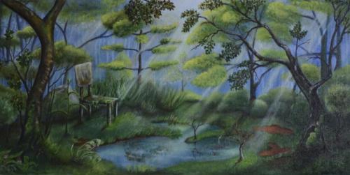 Wald mit Stuhl und Zwergen